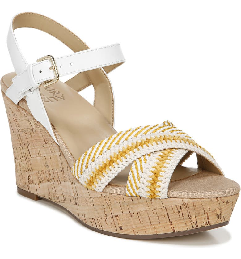 NATURALIZER Zia Platform Wedge Sandal, Main, color, YELLOW/ WHITE