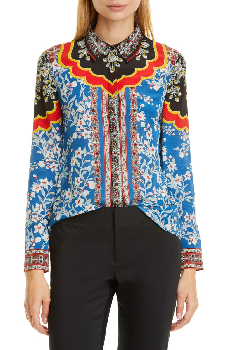 ALICE + OLIVIA Willa Print Silk Shirt, Main, color, 498