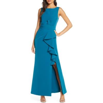 Petite Eliza J Ruffle Detail Gown, Blue/green