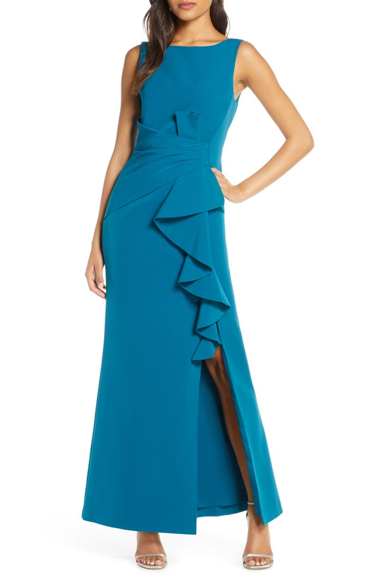 ELIZA J Ruffle Detail Gown, Main, color, TEAL
