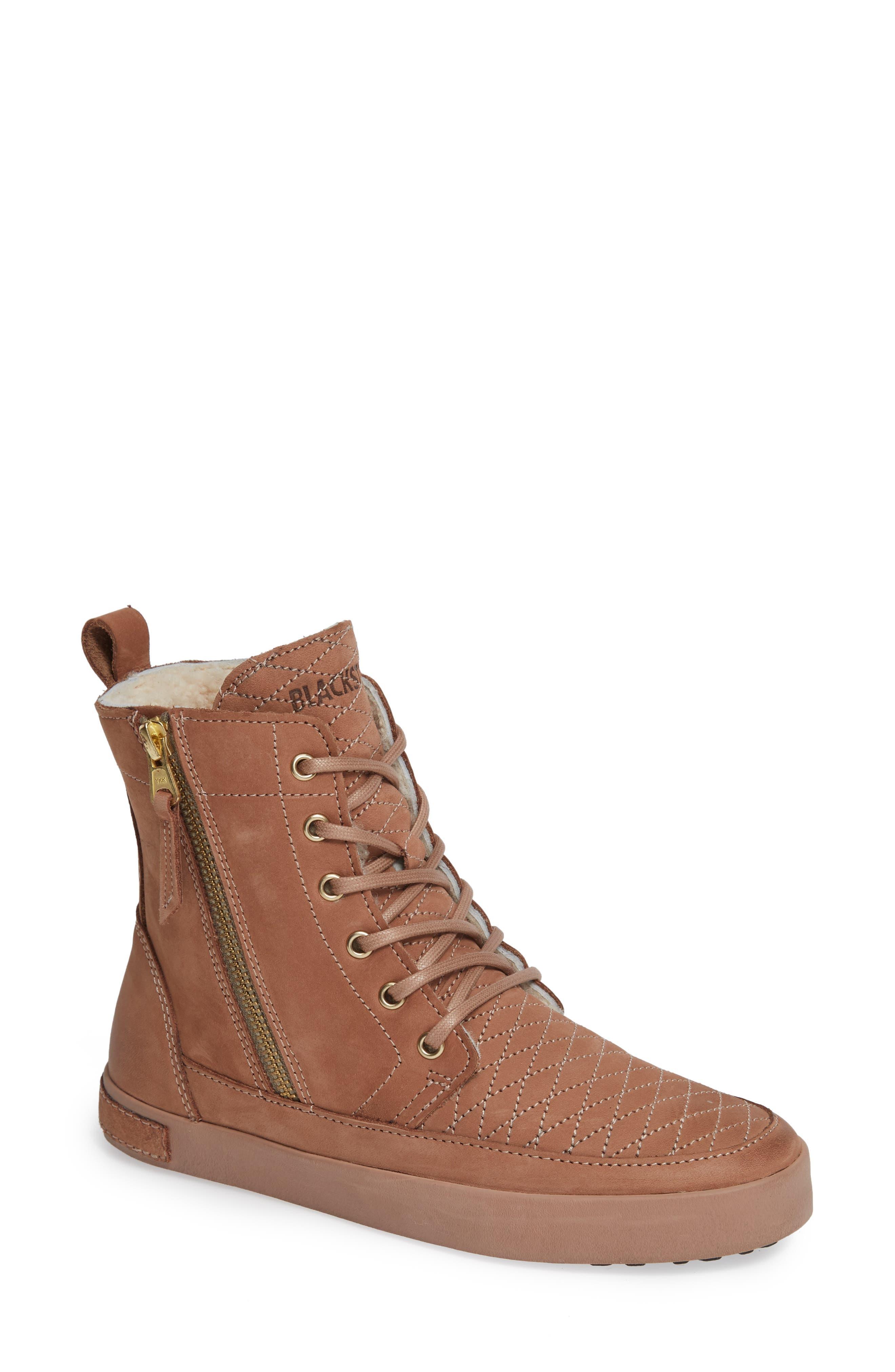Blackstone Ql64 High Top Sneaker With Genuine Shearling Lining, Beige