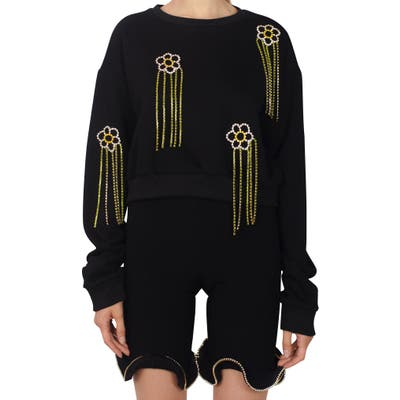 Area Floral Crystal Fringe French Terry Sweatshirt, Black