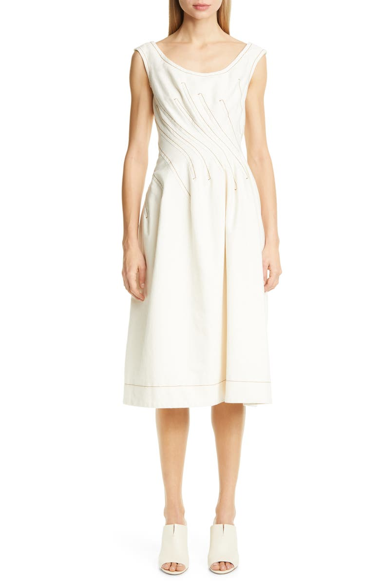 MARNI Darted Cotton Drill A-Line Dress, Main, color, GLASS