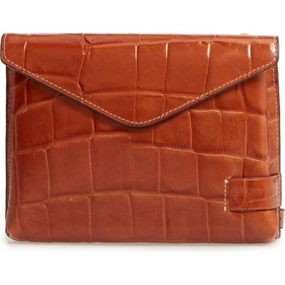 Staud Holly Convertible Croc Embossed Leather Bag - Brown