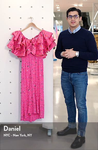 Carmen Layered Ruffle Midi Dress, sales video thumbnail