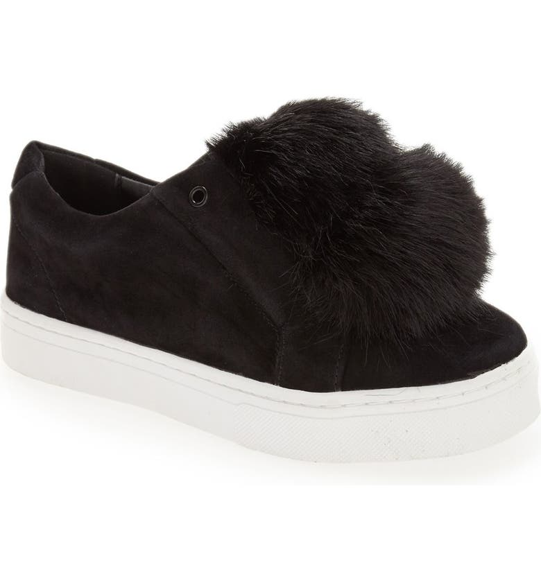 SAM EDELMAN 'Leya' Faux Fur Laceless Sneaker, Main, color, 001