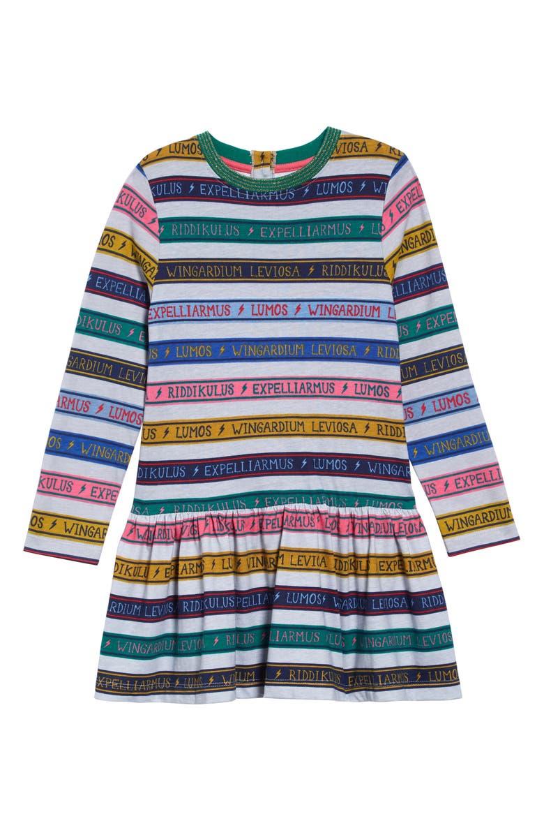 MINI BODEN Harry Potter Charms Class Stripe Dress, Main, color, GREY MARL