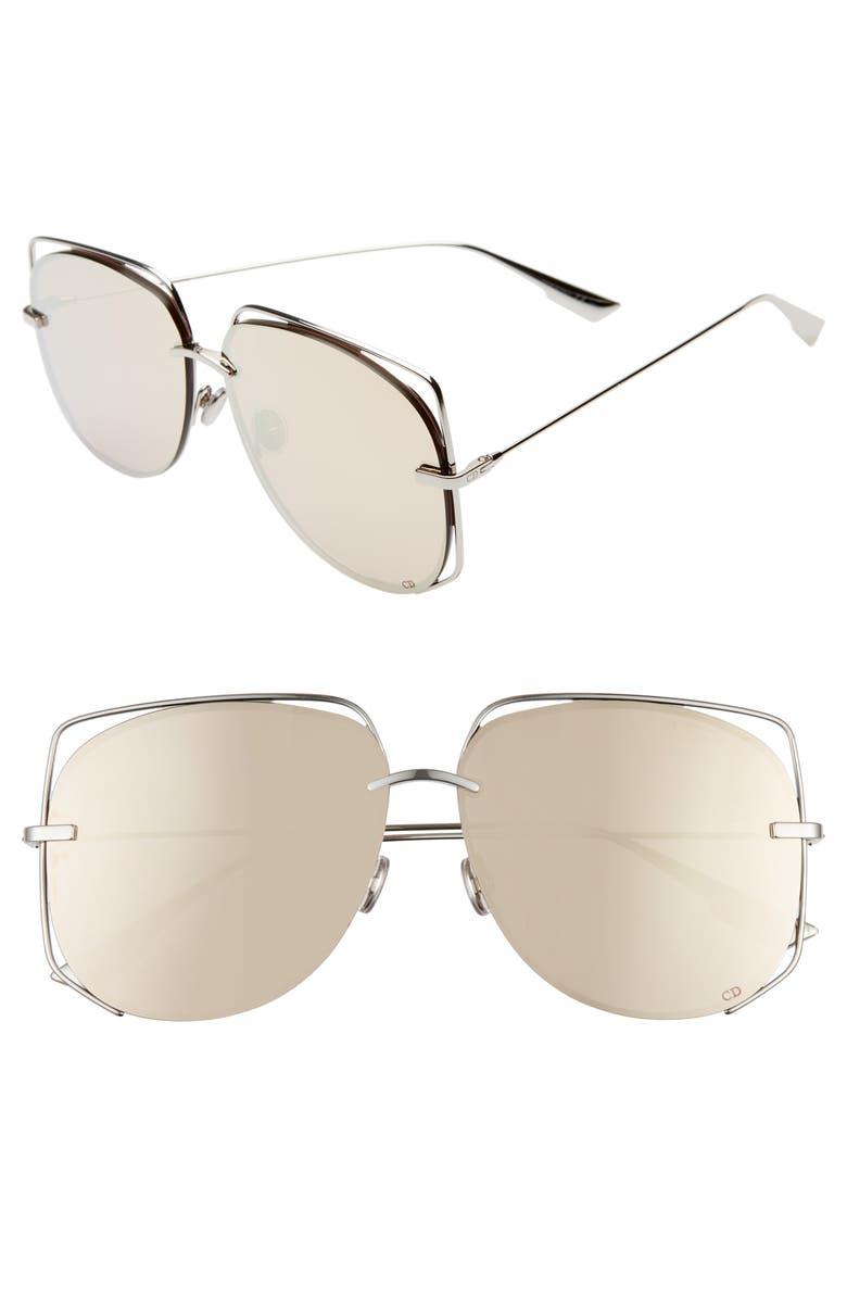 DIOR Stellair 61mm Aviator Sunglasses, Main, color, PALLADIUM/ GOLD