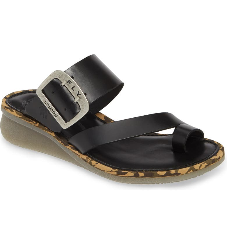 FLY LONDON Cops Wedge Slide Sandal, Main, color, 001