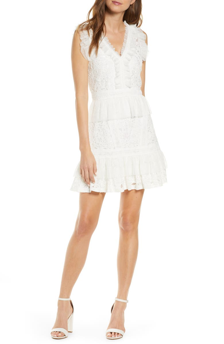 ADELYN RAE Deven Lace Cocktail Dress, Main, color, 100