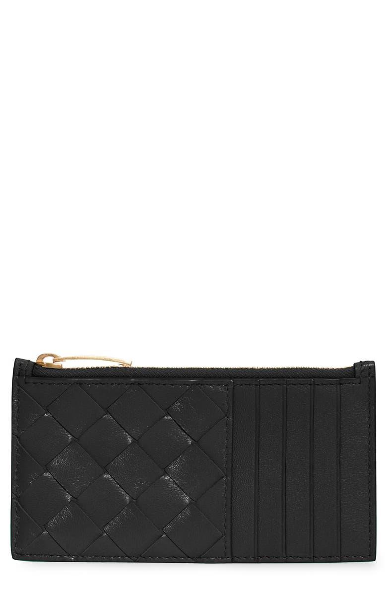 BOTTEGA VENETA Intrecciato Leather Zip Card Case, Main, color, BLACK-GOLD