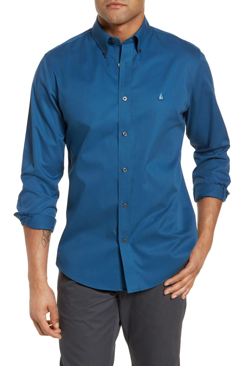 NORDSTROM MEN'S SHOP Smartcare<sup>™</sup> Traditional Fit Twill Boat Shirt, Main, color, 401