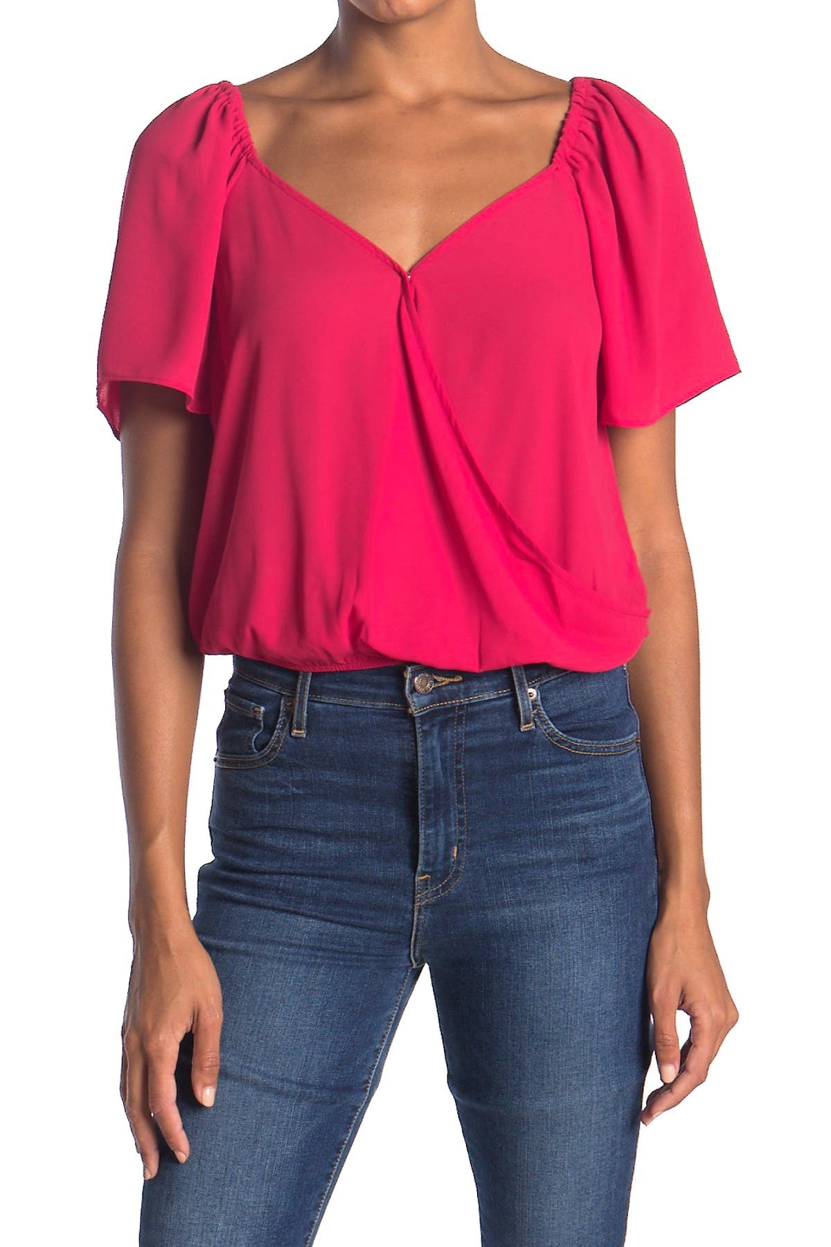Image of Lush Surplice Solid Blouse