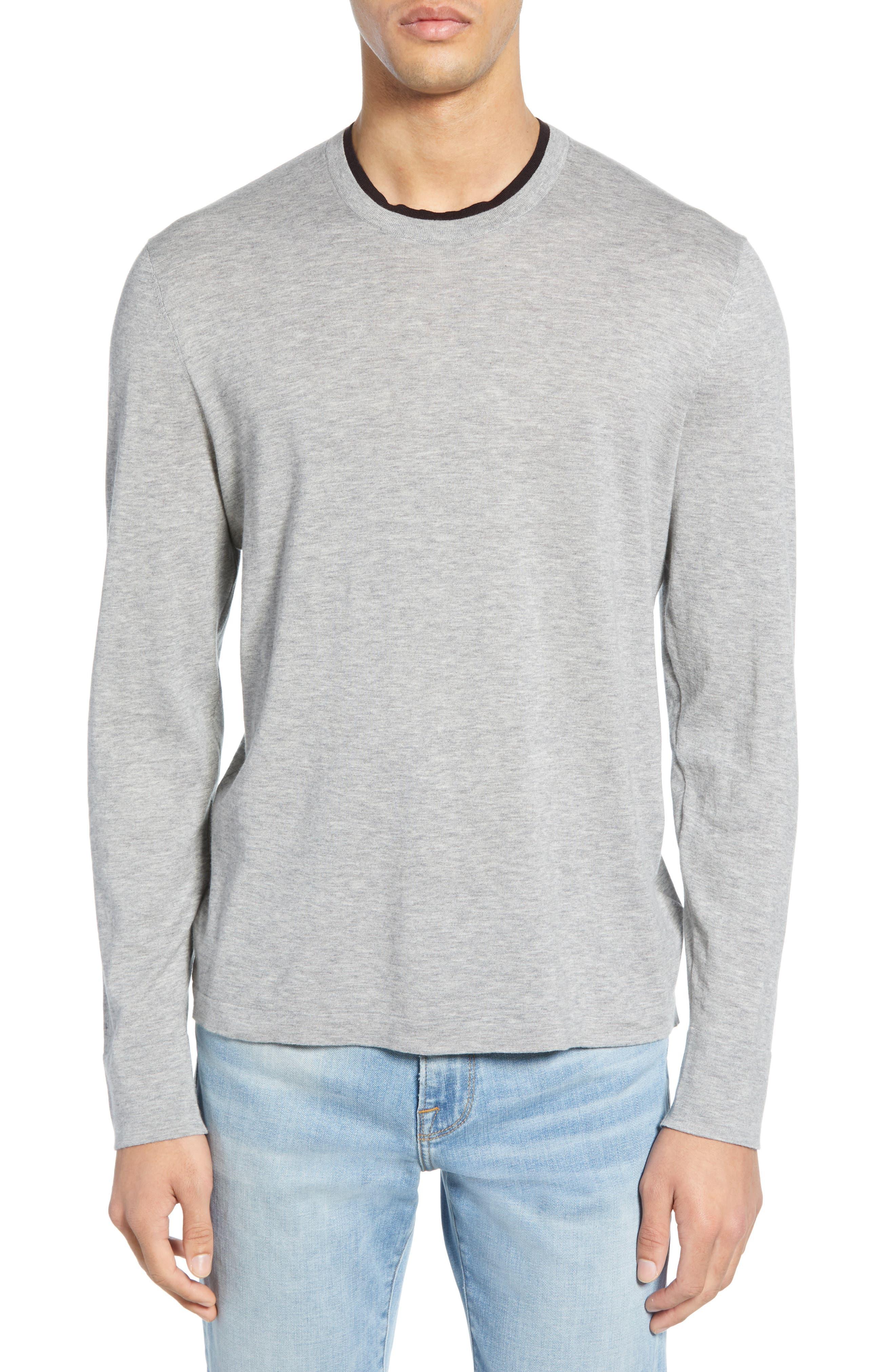 James Perse Slim Fit Cotton Crewneck Sweater, Grey