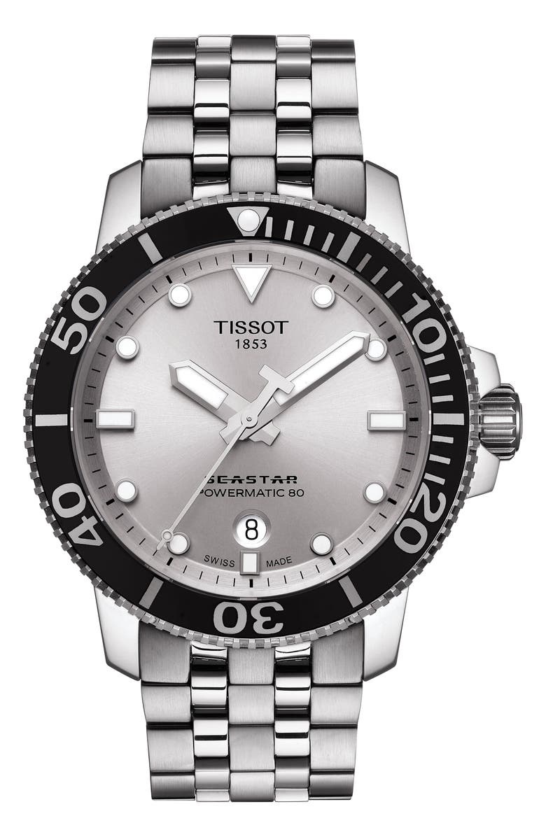 TISSOT Seastar 1000 Powermatic 80 Bracelet Watch, 43mm, Main, color, SILVER