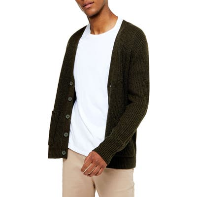 Topman Rack Textured Cardigan Sweater, Green