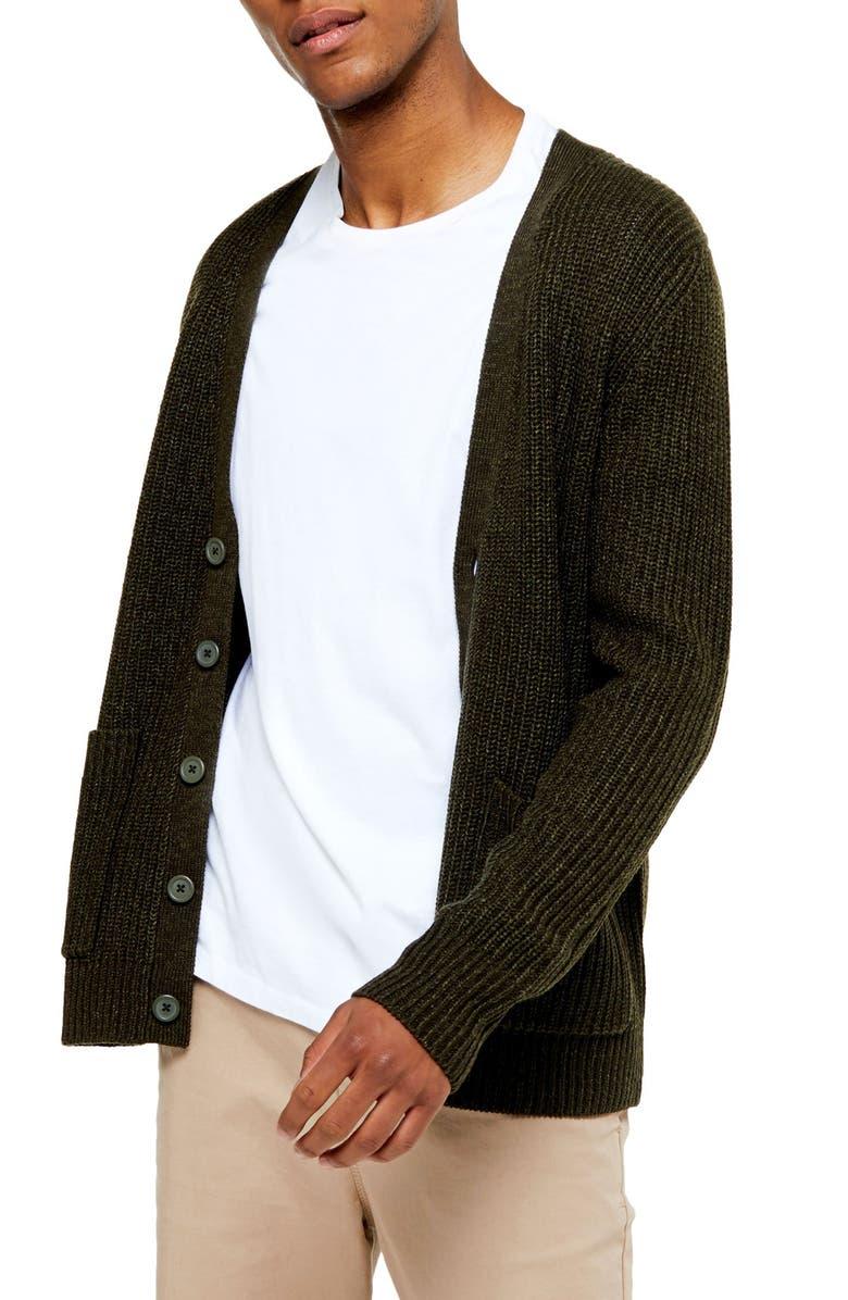 TOPMAN Rack Textured Cardigan Sweater, Main, color, OLIVE