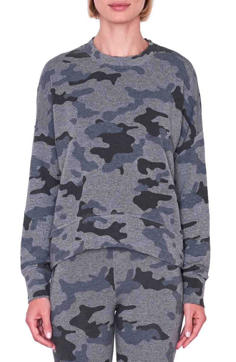 SUNDRY Camo Oversize Sweatshirt, Main, color, HEATHER GREY
