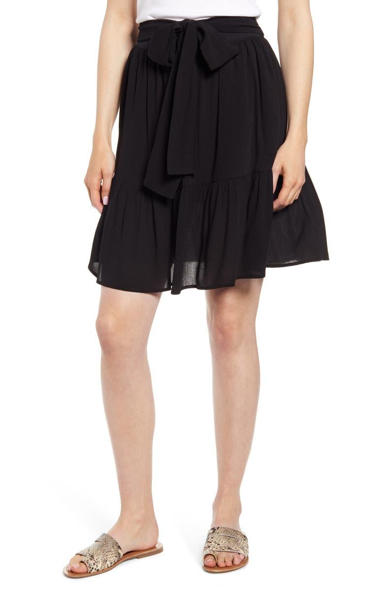 GIBSON x Hi Sugarplum! Capri Tiered Tie Front Summer Skirt, Main, color, BLACK