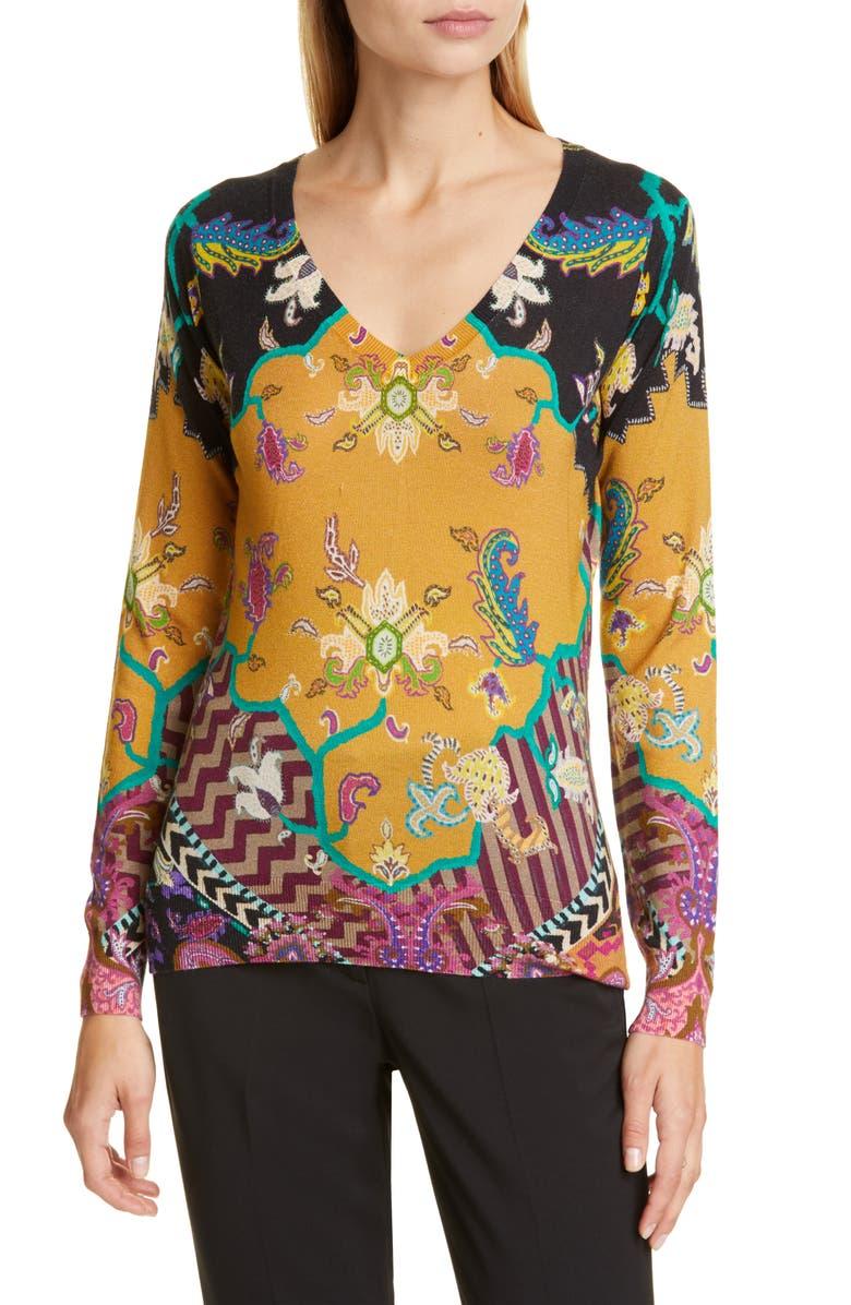 ETRO Print Silk & Cashmere Sweater, Main, color, 800