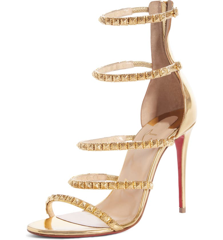 CHRISTIAN LOUBOUTIN Forever Girl Spike Cage Sandal, Main, color, GOLD
