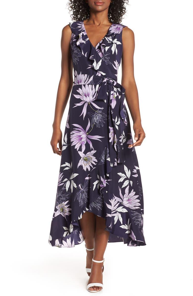 VINCE CAMUTO Asymmetrical Faux Wrap Midi Dress, Main, color, NAVY/ MULTI