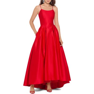 Betsy & Adam High/low Satin Ballgown, Red