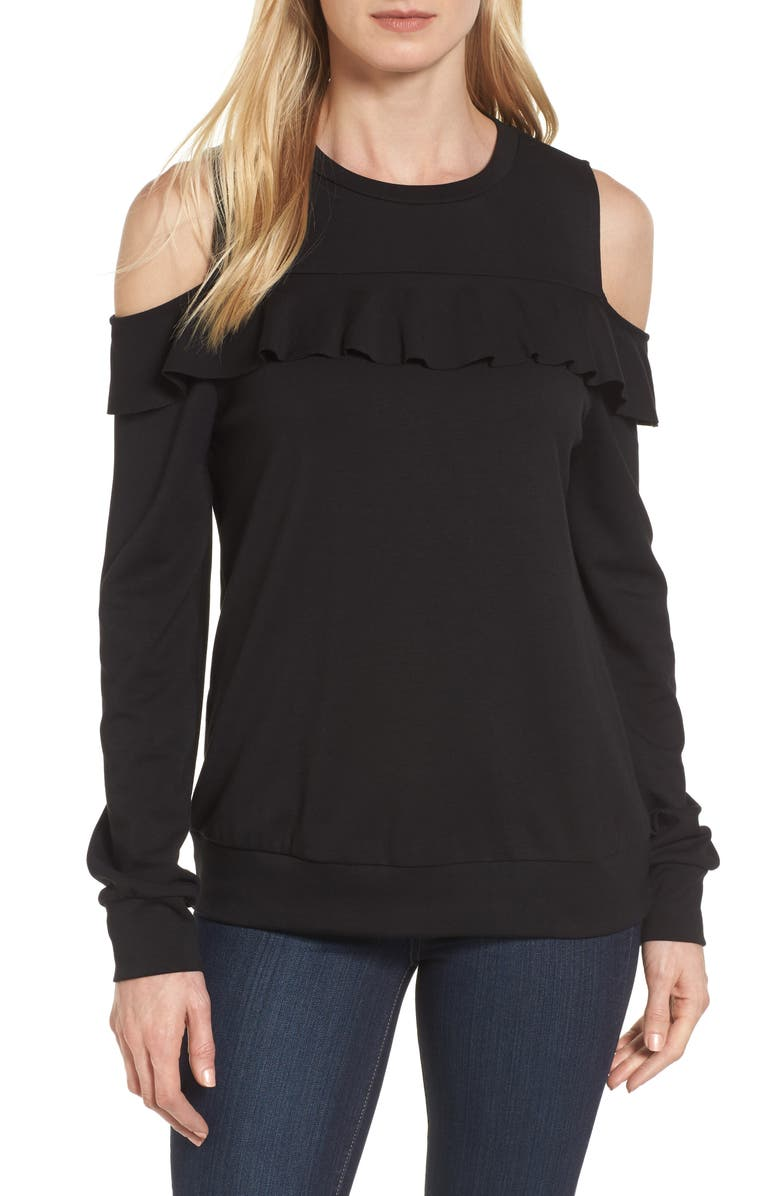 HALOGEN<SUP>®</SUP> Ruffle Front Cold Shoulder Sweatshirt, Main, color, 001