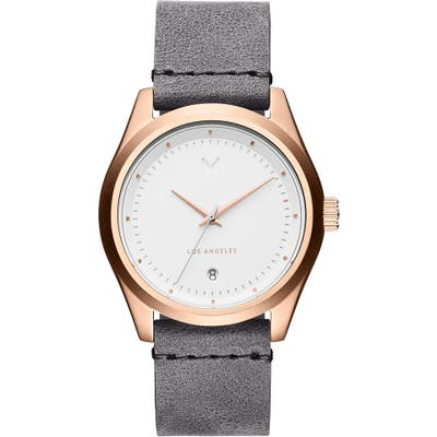 Mvmt Time Crusher Leather Strap Watch,