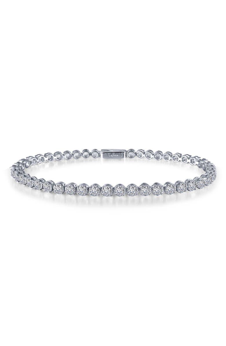 LAFONN Simulated Diamond Tennis Bracelet, Main, color, SILVER/ CLEAR