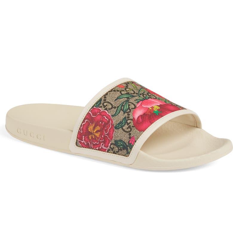 GUCCI Floral GG Supreme Slide Sandal, Main, color, WHITE/ MULTI