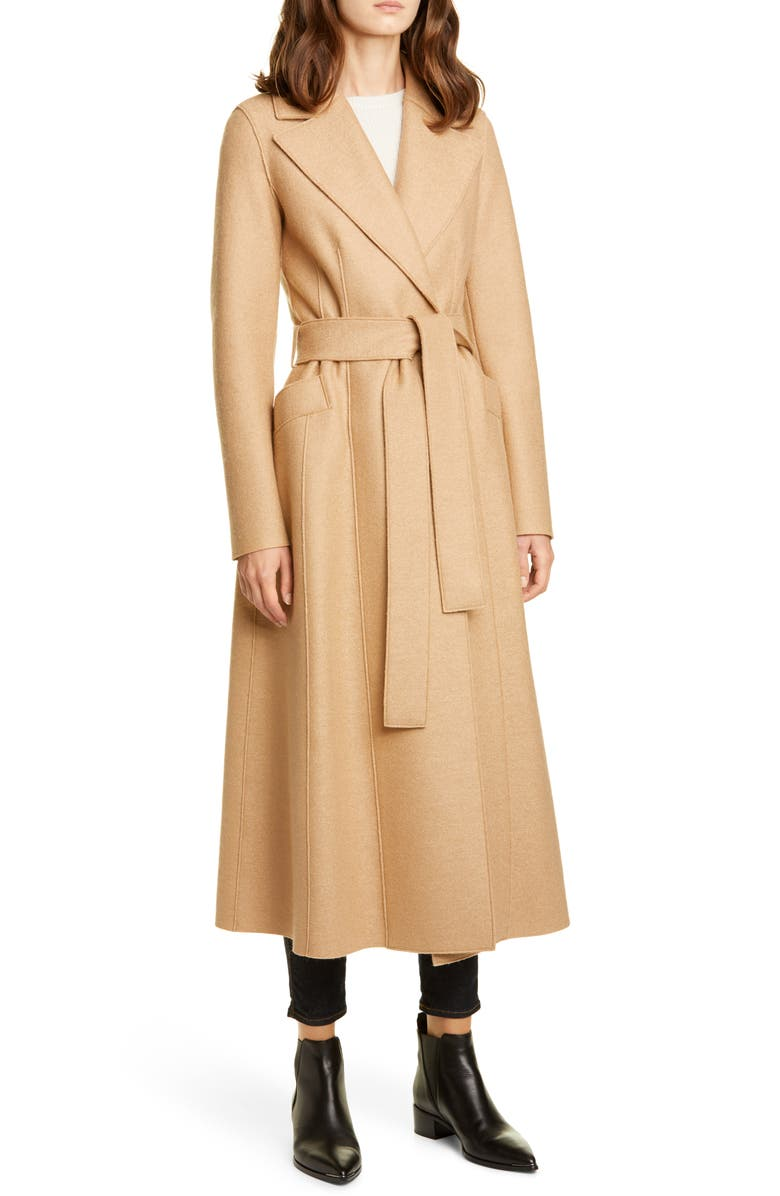 HARRIS WHARF LONDON Long Wool Duster Coat, Main, color, TAN