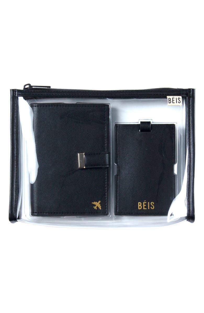 BÉIS The Travel Set Passport Wallet, Pouch & Luggage Tag, Main, color, BLACK