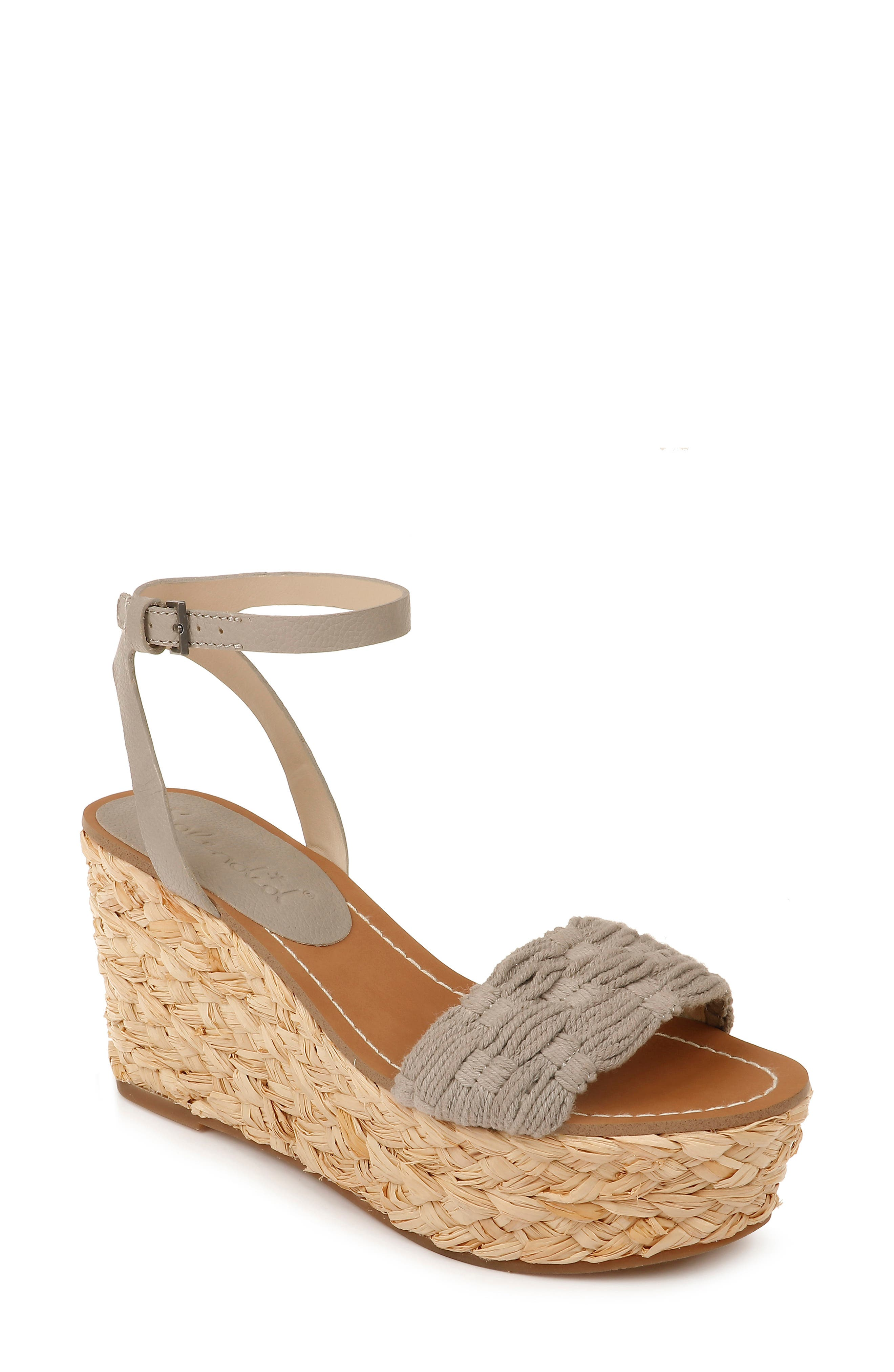 A tall espadrille-style platform wedge lofts a breezy ankle-strap sandal fashioned with a knotted strap at the toe. Style Name: Splendid Marlene Platform Wedge Sandal (Women). Style Number: 5985116. Available in stores.