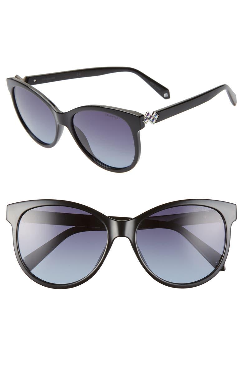 POLAROID 57mm Polarized Cat Eye Sunglasses, Main, color, BLACK/ GREY POLARIZED