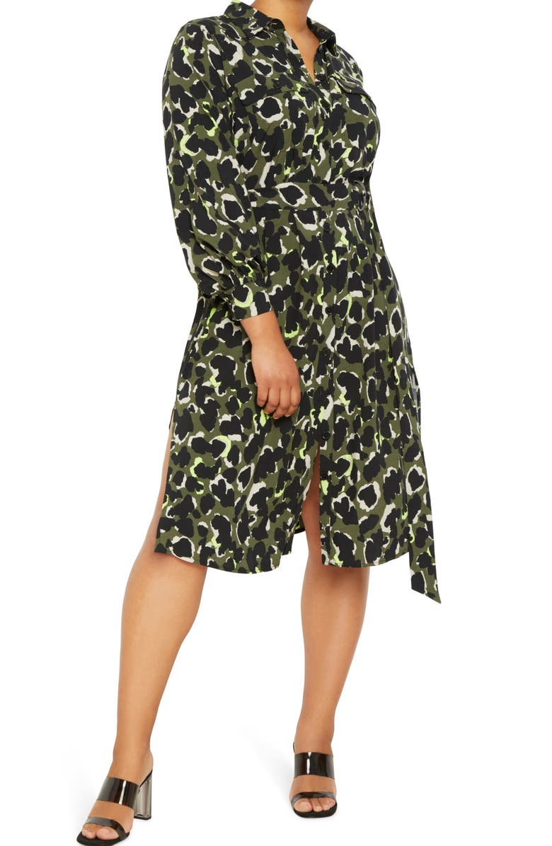 ELOQUII Utility Belted Long Sleeve Midi Shirtdress, Main, color, FLORAL CAMO