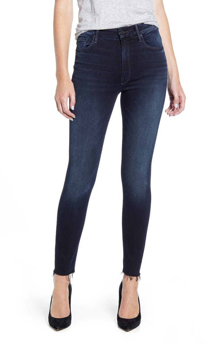 MOTHER The Looker High Waist Frayed Ankle Skinny Jeans, Main, color, LAST CALL