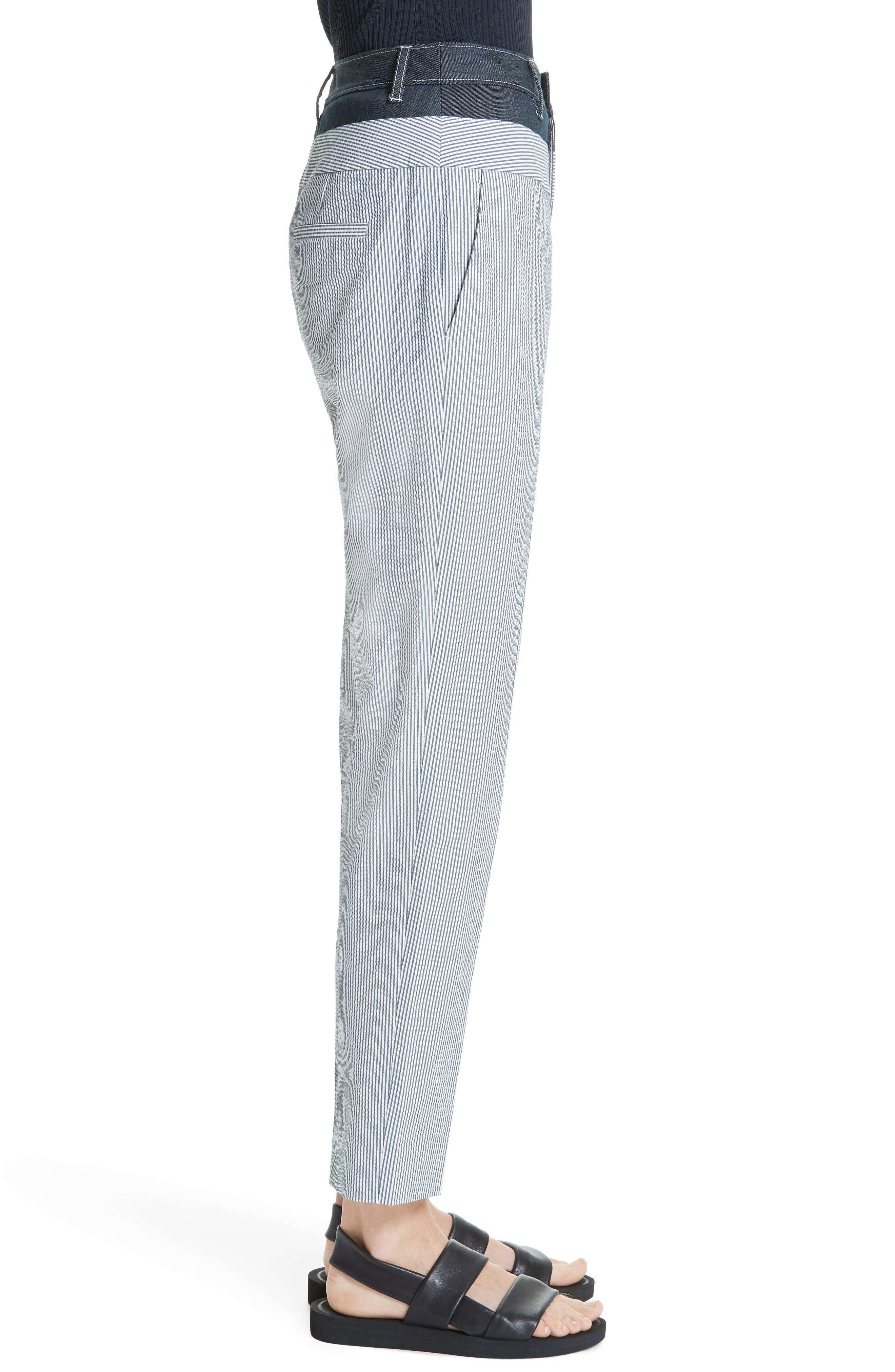 ,                             Denim & Seersucker Pants,                             Alternate thumbnail 3, color,                             TWILIGHT/ STAR WHITE