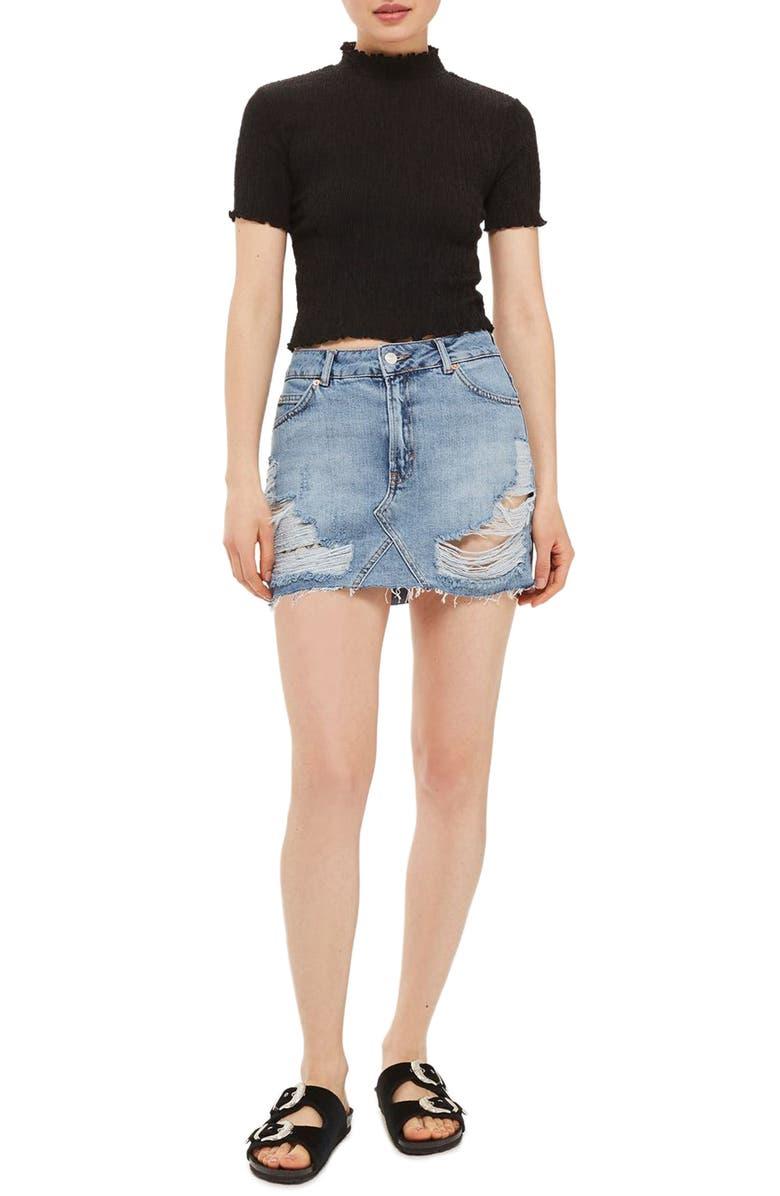 TOPSHOP Rip Denim Miniskirt, Main, color, 400
