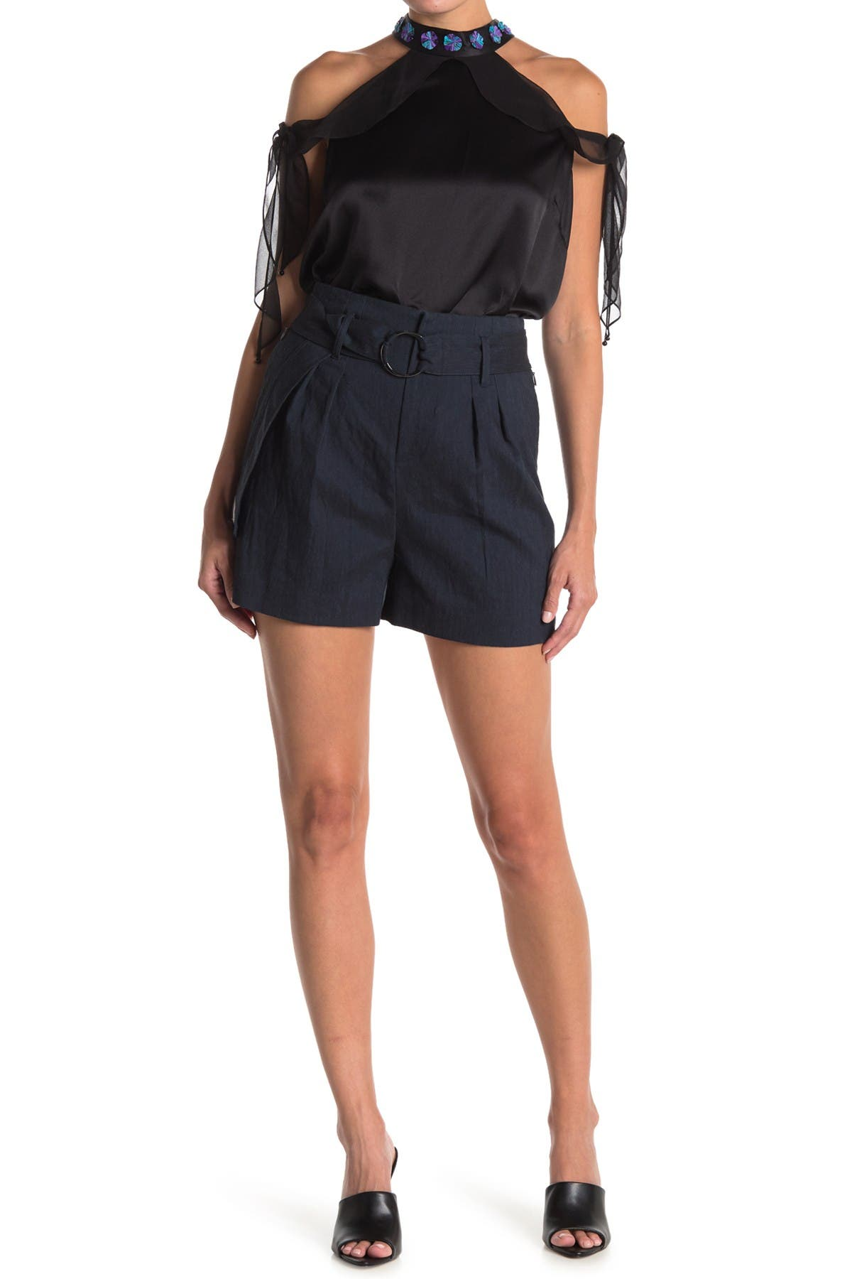 Image of Elie Tahari Genna Paperbag Linen Blend Belted Shorts