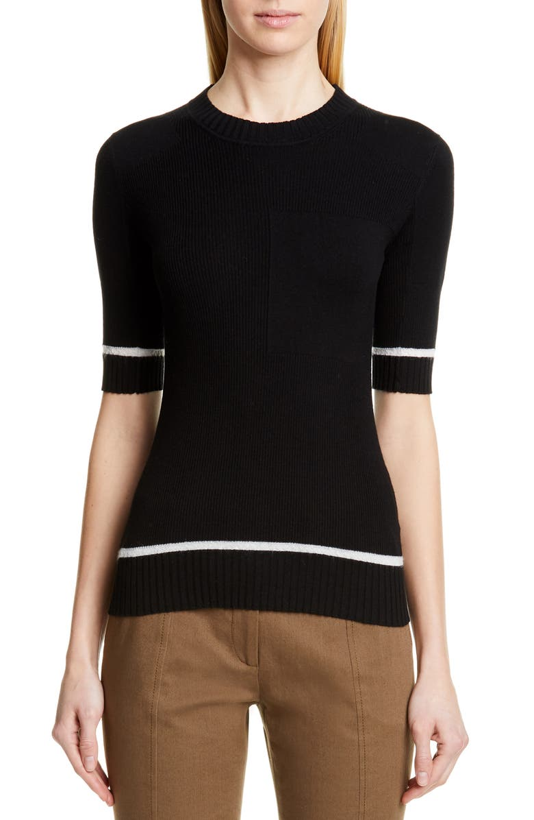 PROENZA SCHOULER Elbow Sleeve Rib Sweater, Main, color, BLACK