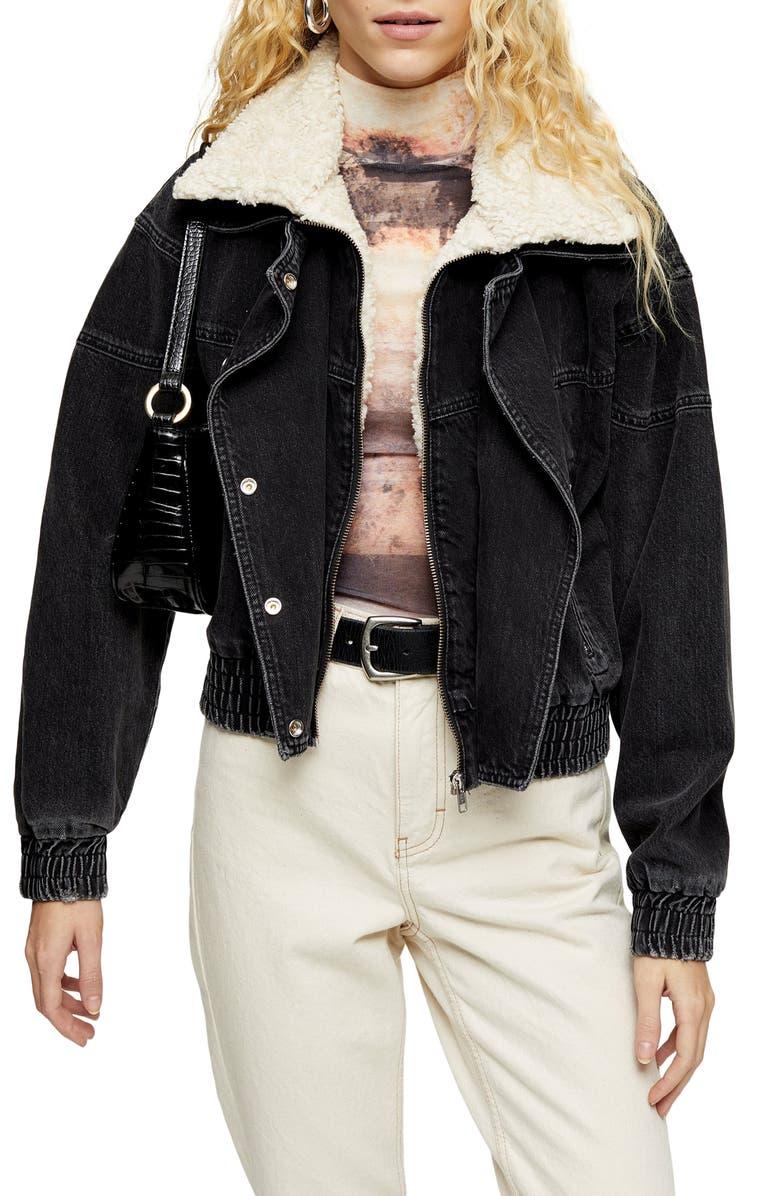 TOPSHOP '80s Ski Faux Fur Collar Jacket, Main, color, WASHED BLACK