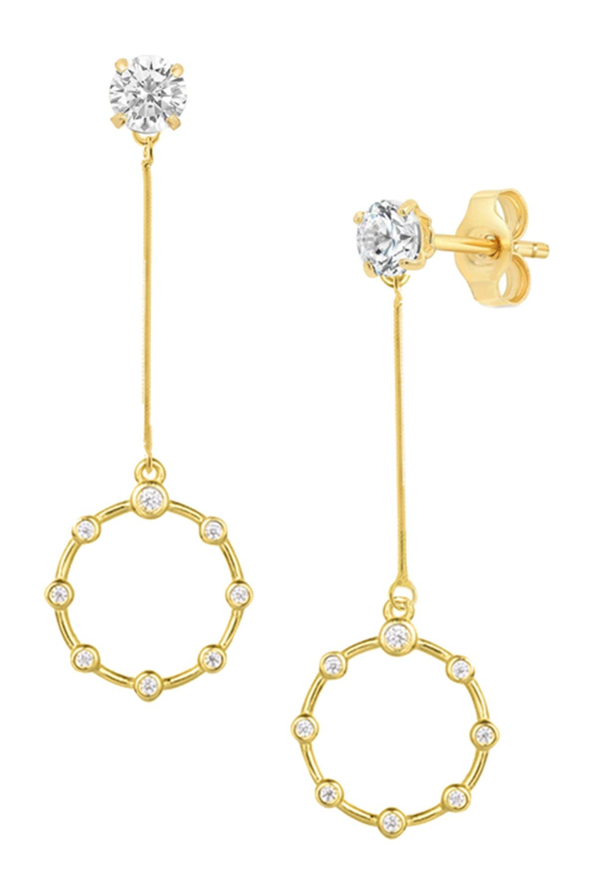 Image of Savvy Cie 18K Yellow Gold Vermeil CZ Ring Drop Earrings