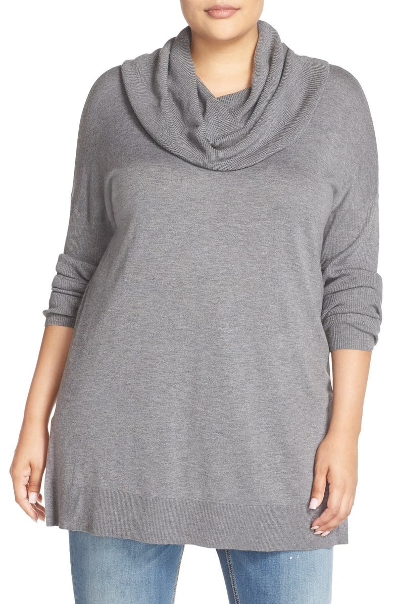 CASLON<SUP>®</SUP> Cowl Neck Tunic Sweater, Main, color, GREY DARK HEATHER