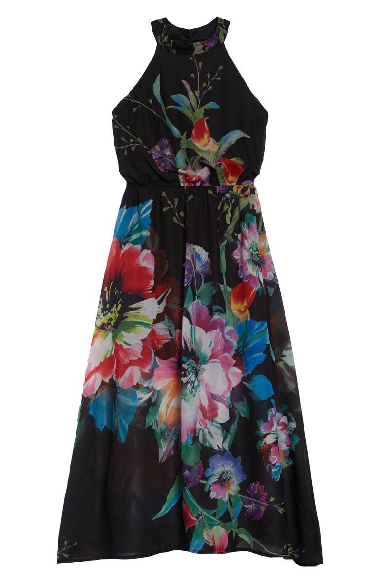 AVA & YELLY Floral Print Chiffon Maxi Dress, Main, color, BLACK