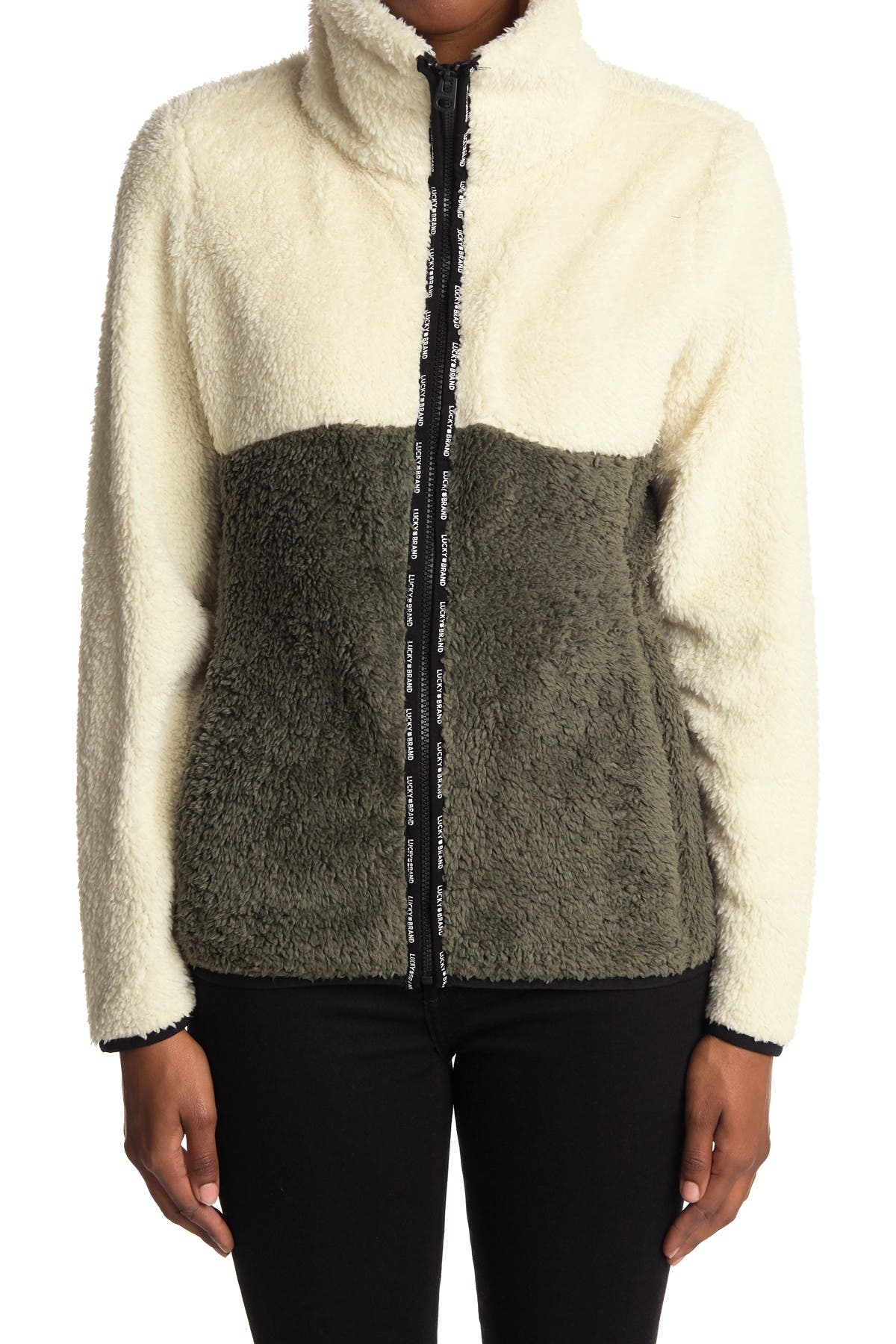 Lucky Brand Colorblock Faux Shearling Zip Jacket
