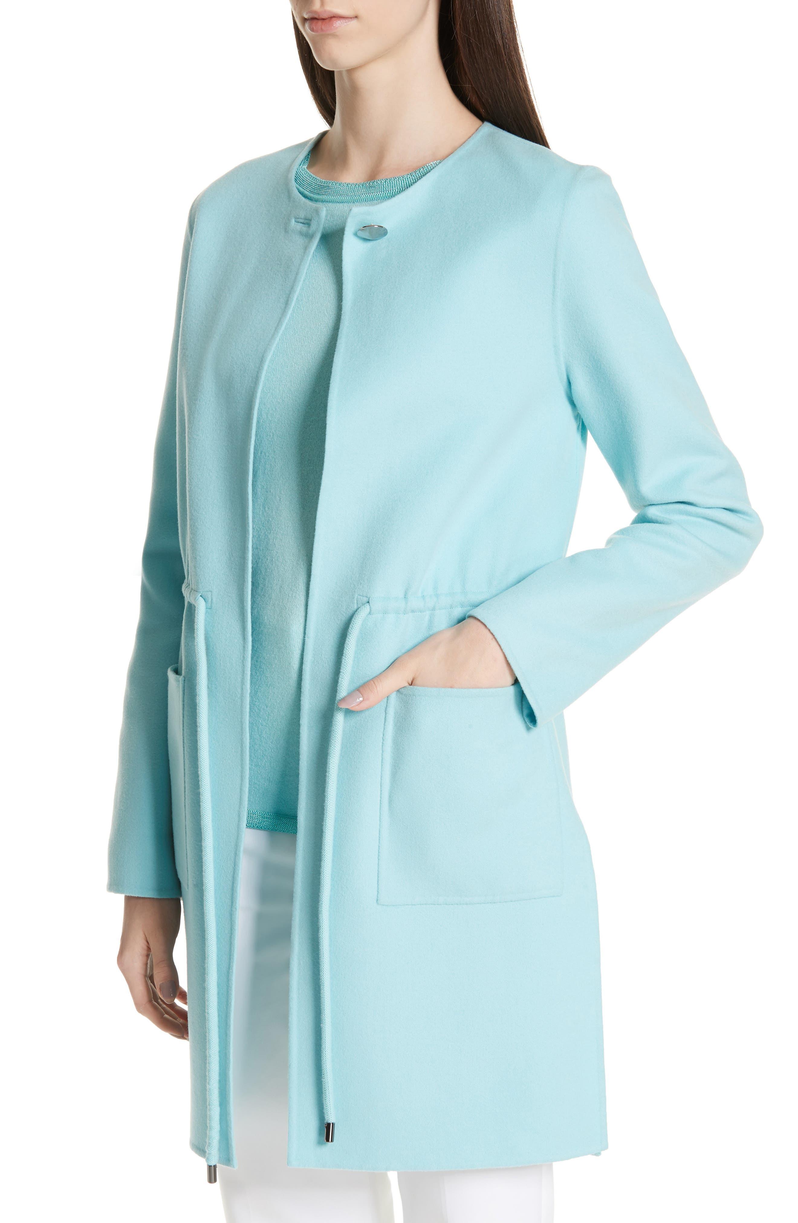 ,                             Double Face Wool & Cashmere Jacket,                             Alternate thumbnail 5, color,                             AQUAMARINE