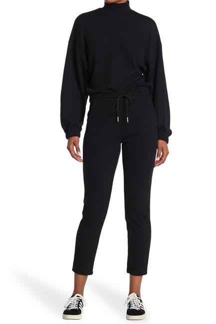 Image of Elodie Drawstring Rib Knit Tapered Crop Pants