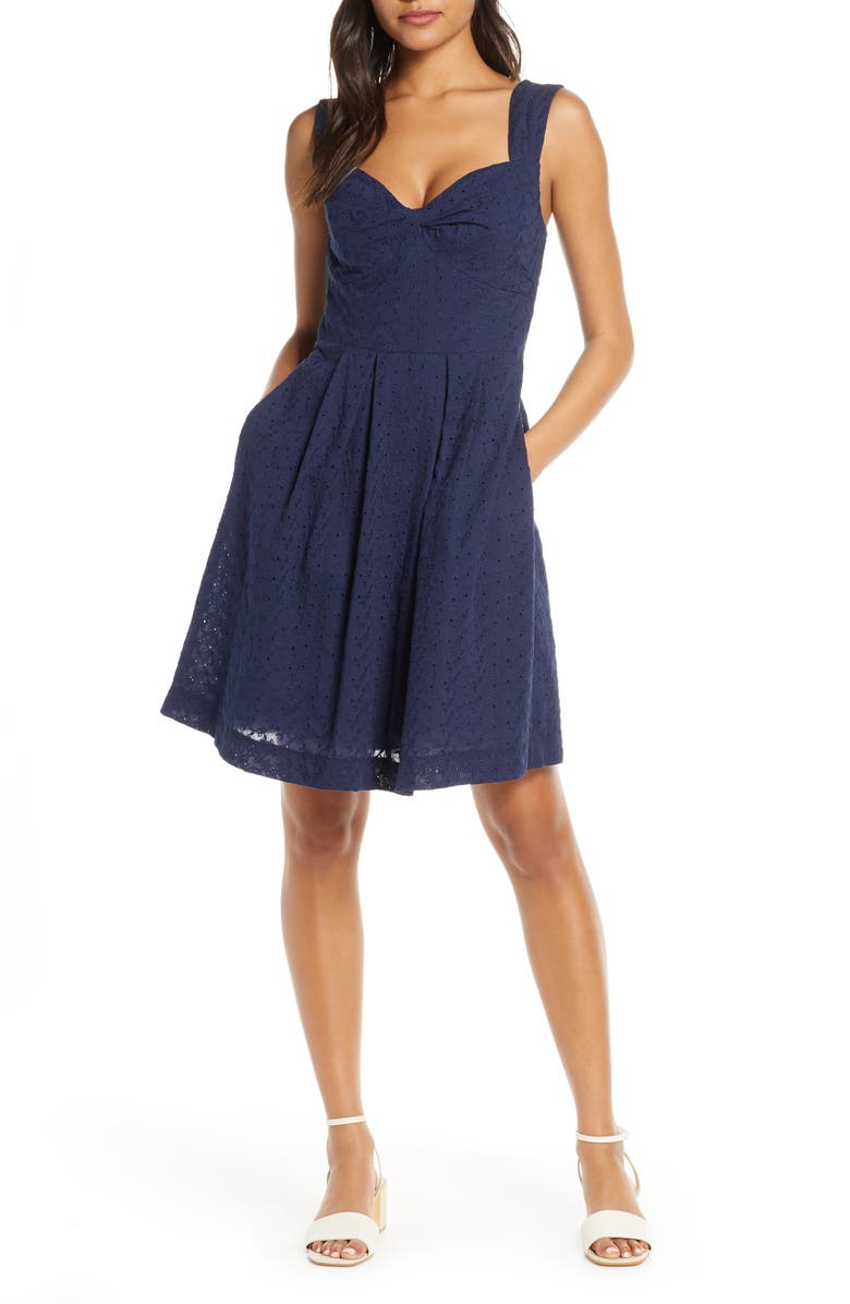 LILLY PULITZER<SUP>®</SUP> Cyndi Fit & Flare Dress, Main, color, TRUE NAVY FISHY EYELET