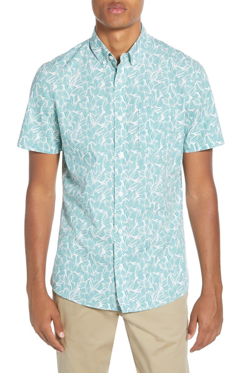1901 Trim Fit Short Sleeve Button-Down Shirt, Main, color, WHITE TEAL PETAL LEAVES